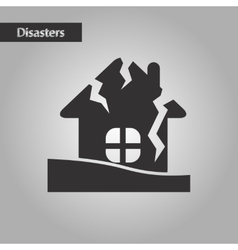 Black and white style house crash vector