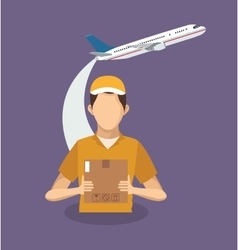 Box airplane and man of delivery concept design vector