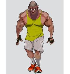cartoon formidable muscular man in sportswear vector image