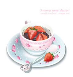 Chocolate strawberry mousse in a mug vector