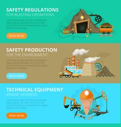 coal mining 3 flat interactive banners vector image