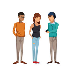 Colorful men students standing and girl in casual vector