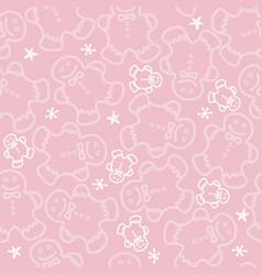 cute dancing gingerbread men cookies on pink vector image vector image