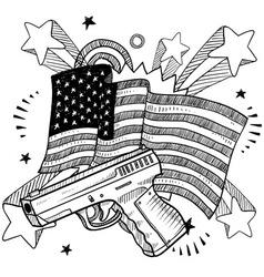 doodle americana gun bw vector image