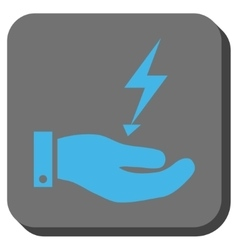 Electricity supply hand rounded square button vector