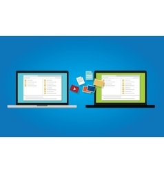 File transfer copy document backup to laptop from vector