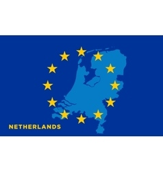 Flag of european union with netherlands on vector