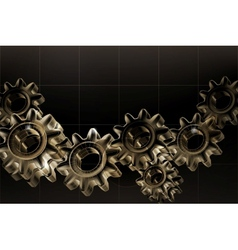Gears background Black horizontal vector image vector image