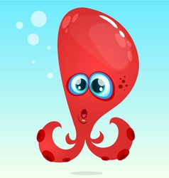 Happy cartoon octopus red octopus surprised vector