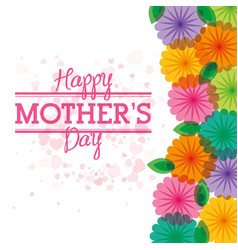 Happy mothers day card with flowers heart vector