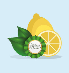 Lemon natural product label quality vector