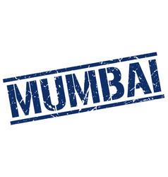 Mumbai blue square stamp vector