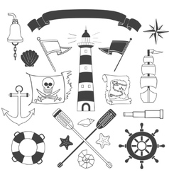 Nautical and sea set vector image vector image