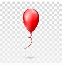 red glossy balloon isolated on transparent vector image vector image