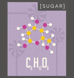 Retro poster of simple sugar molecule vector