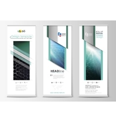 Roll up banner stands abstract geometric style vector