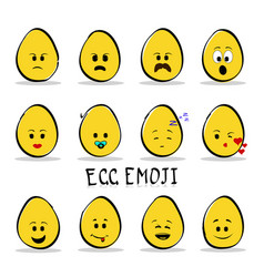 set of 12 egg emoji isolated on clear background vector image vector image