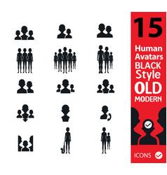 set of peoplehuman silhouette vector image