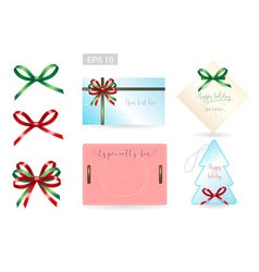 Set of ribbon tied bows for gift card vector