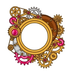 Steampunk frame collage of metal gears in doodle vector