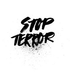 Stop terror Handdrawn brush ink lettering vector image vector image