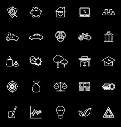 Sufficient economy line icons on black background vector