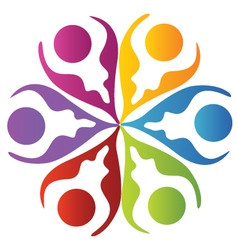 Teamwork leafs logo vector image vector image