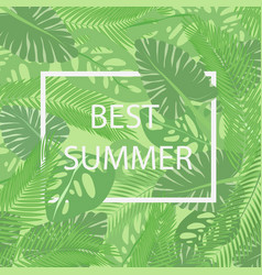 The best summer lettering in a frame on the vector