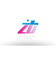 Zb z b alphabet letter combination pink blue bold vector