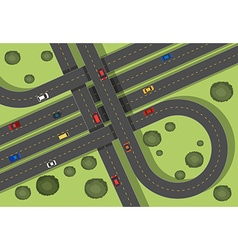 Aerial scene with roads and cars vector