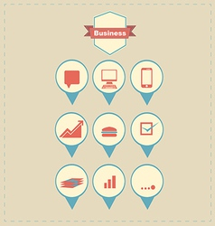 Retro business icons vector