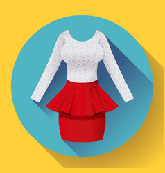 fashionable womens clothing dress with baska red vector image