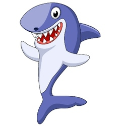 Cute shark cartoon waving vector