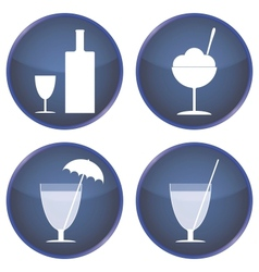 Set of buttons for cafes and bars vector