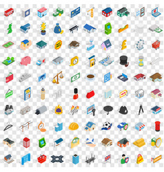 100 metropolis icons set isometric 3d style vector