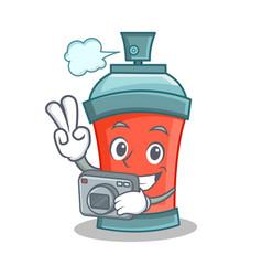 Photography aerosol spray can character cartoon vector