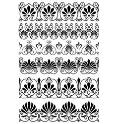 Vintage black and white ornamental borders vector image