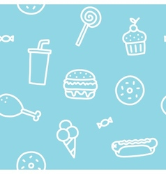 Junk food blue seamless pattern vector