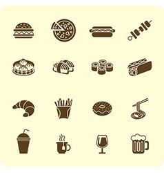 Fast-food icon set vector