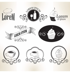 Set of vintage retro coffee sweet cook badges and vector