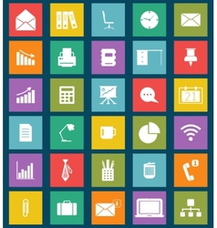 Business and office flat icons for web and mobile vector