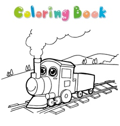 Train coloring page vector