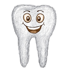 Unique style of happy white tooth isolated in vector