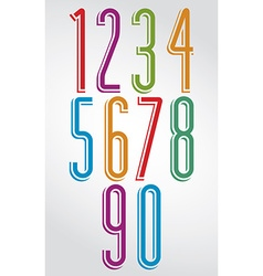 Thin elegant bright animated rounded numbers with vector