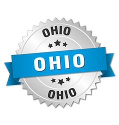 Ohio round silver badge with blue ribbon vector