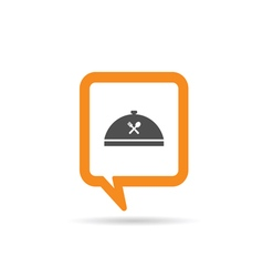Square orange speech bubble with cooking icon vector
