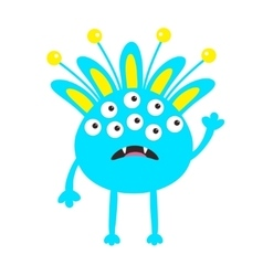 Blue monster with ears fang tooth and horns vector