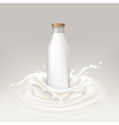 Bottle full of milk vector