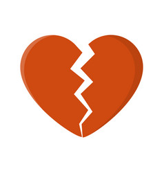 broken heart isolated on white background vector image