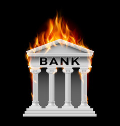 burning building bank on black background vector image vector image